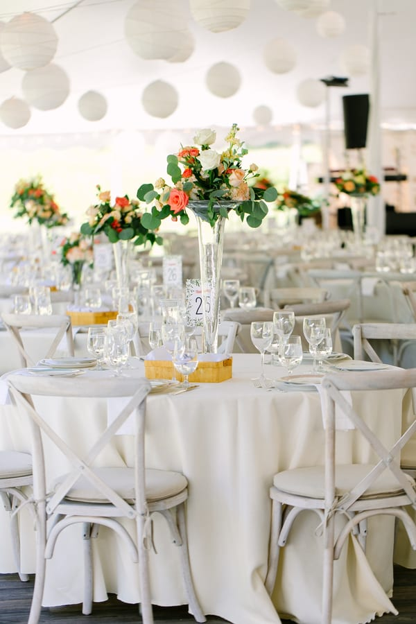 white tablescape for fall wedding