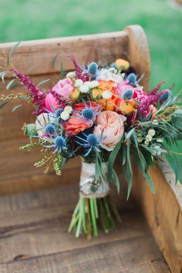 pink, orange, blush, and blue bouquet