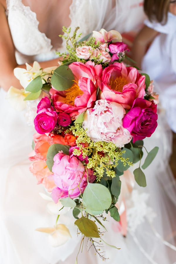 hot pink and blush peony with eucalyptus