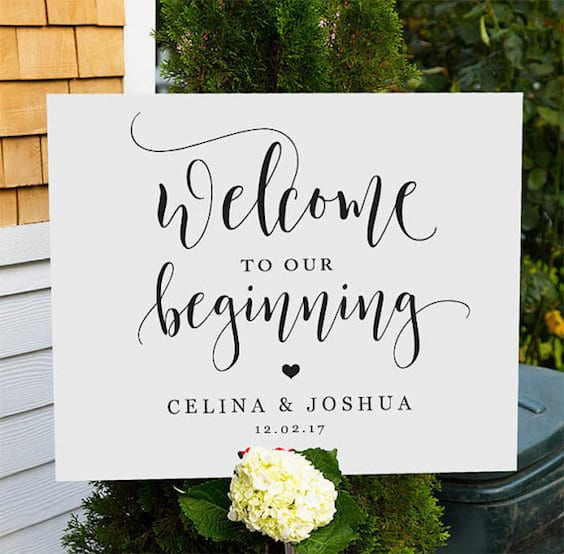 inspiration for the welcome sign at your wedding ceremony