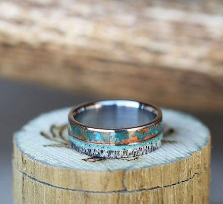 two tone metal mens blue ring