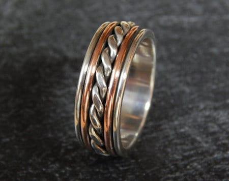 two tone metal mens rope ring