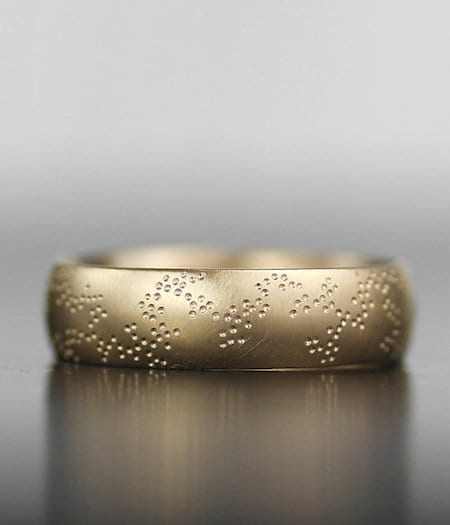 gold textured wedding band