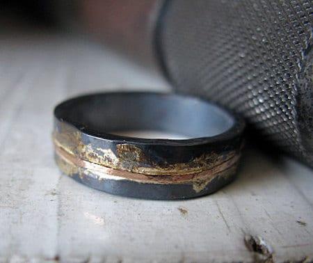 two tone metal mens oxidized ring