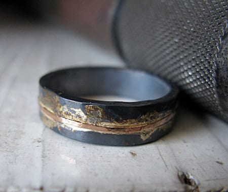 two tone metal mens oxidized ring