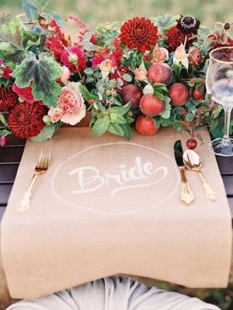 fall wedding apple decor