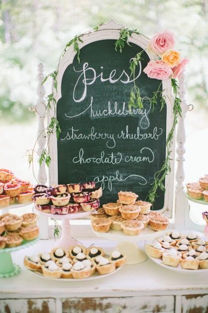 wedding reception pie bar