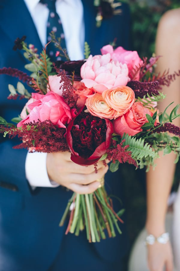 maroon, coral, and pink bouquet