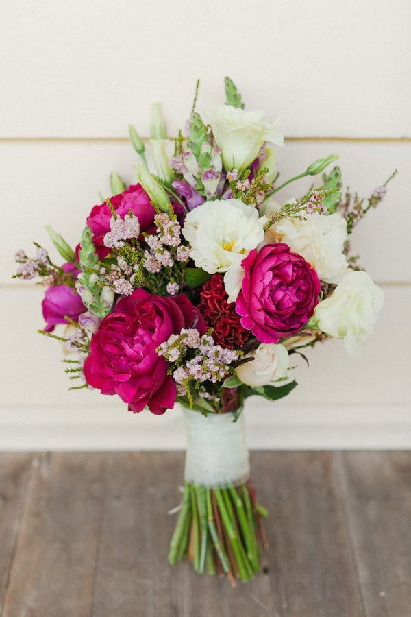 hot pink and white and lavender bouquet