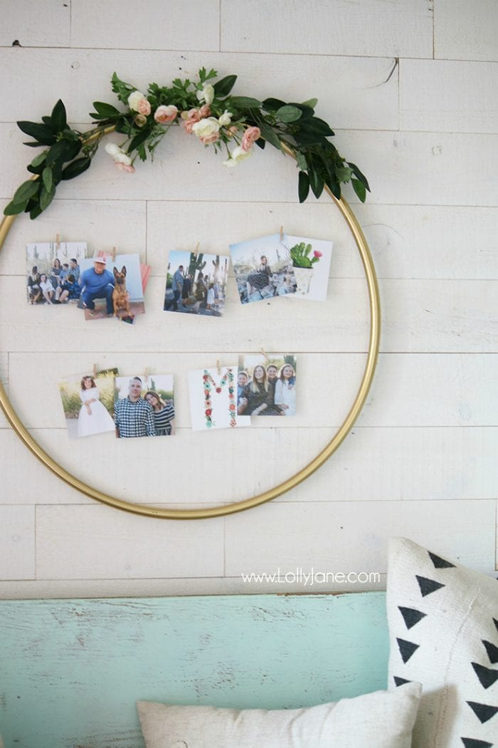 diy hula hoop photo frame