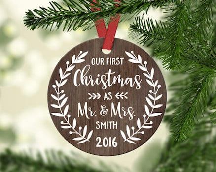 Christmas tree decor for newlyweds