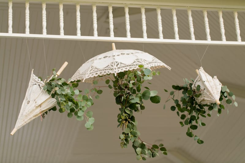 umbrella with leaves hanging off