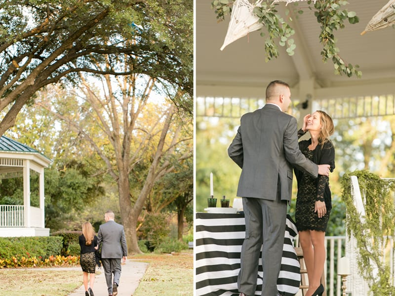 man proposing in park with gazebo