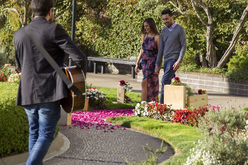 musician playing in background during engagement