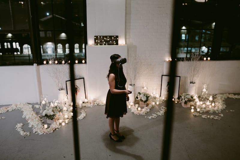 marriage proposal with virtual reality goggles