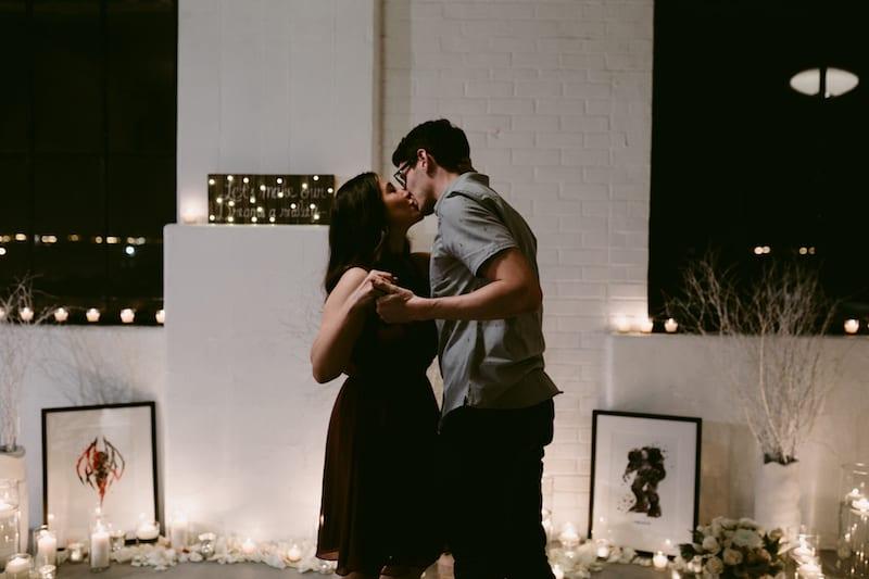 wedding proposal inside in san Francisco