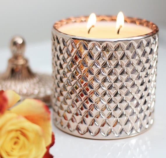 candles with rose gold vase