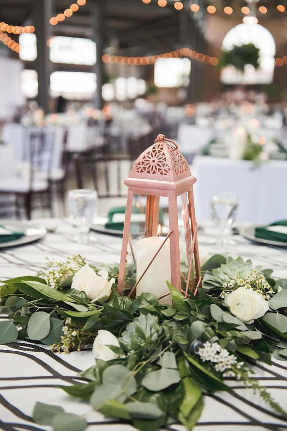 moroccan lantern in rose gold