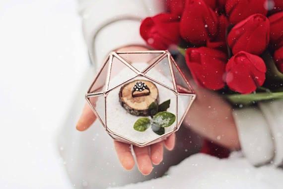 terrarium in rose gold color