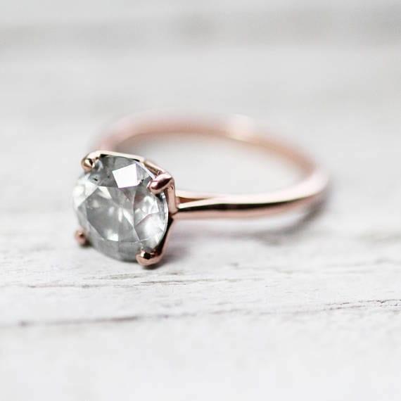 rose gold salt & pepper diamond ring