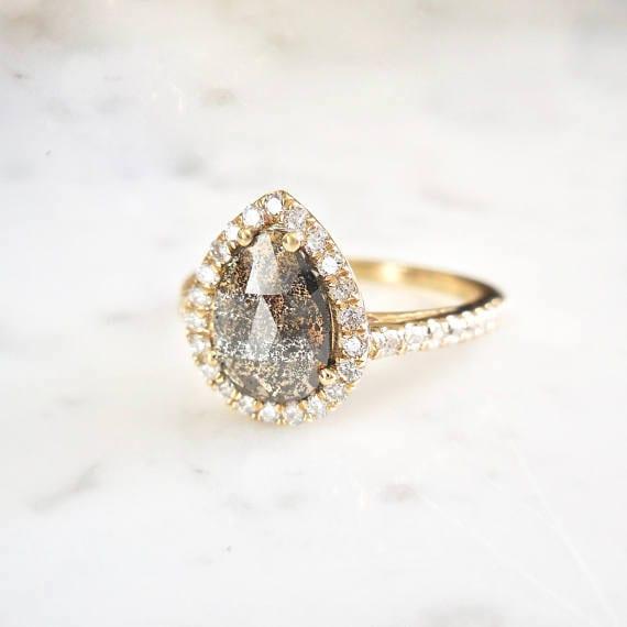 pear shape halo engagement ring