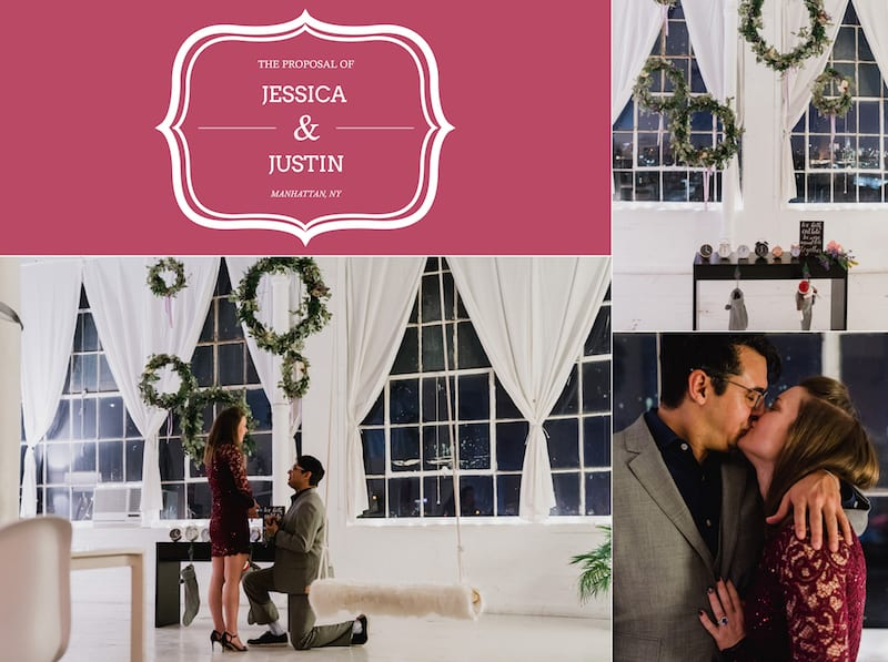 marriage proposal in romantic loft in nyc
