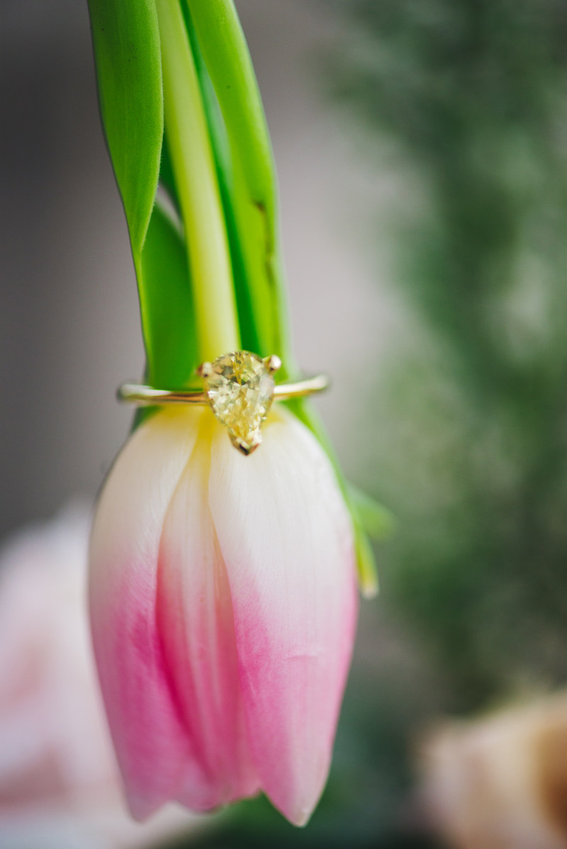 yellow diamond ring on pink tulip