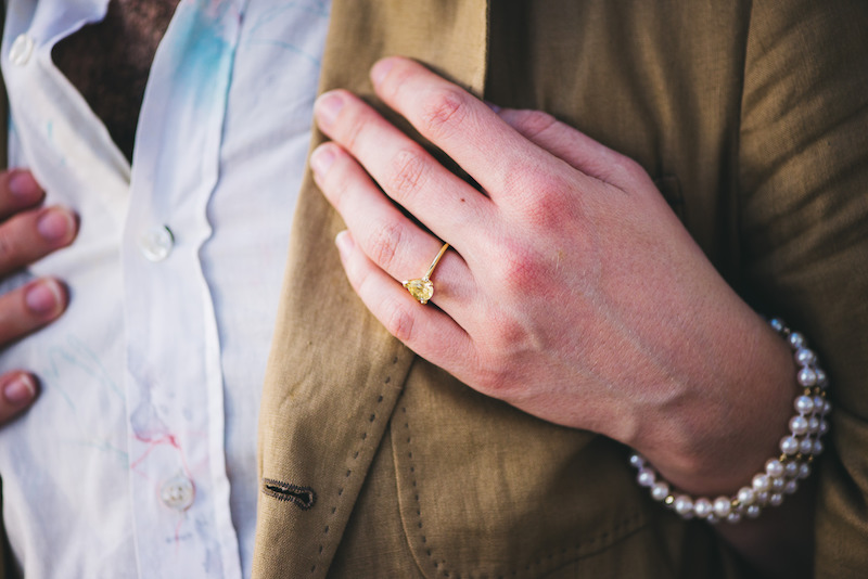 yellow tear drop engagement ring
