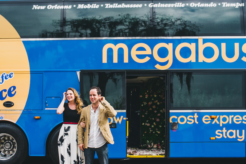 megabus engaged couple