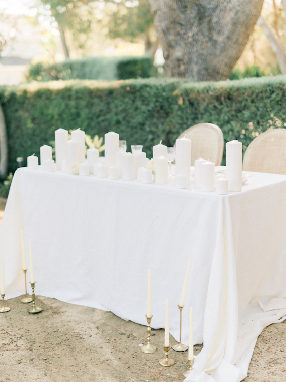 white and candle decorations