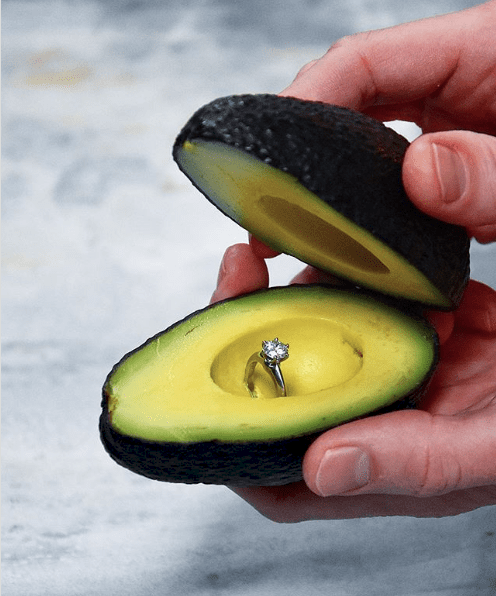 engagement ring box made from an avocado