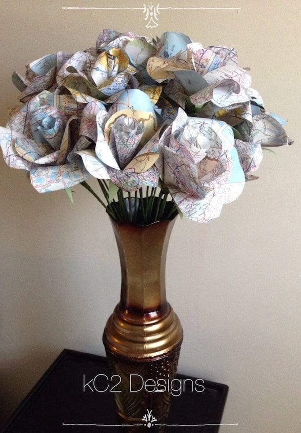 flowers made of paper map