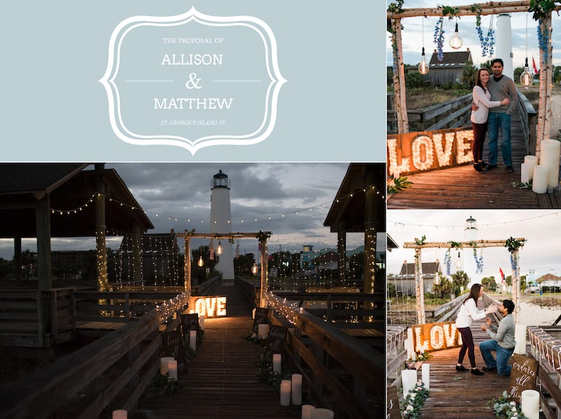 Lighthouse Proposal on the beach outside Tallahassee