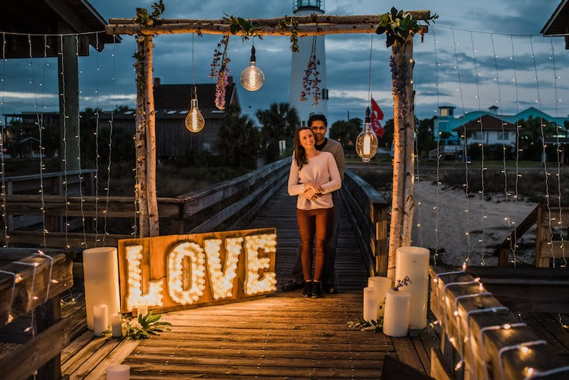 love light up sign Edison bulbs engagement