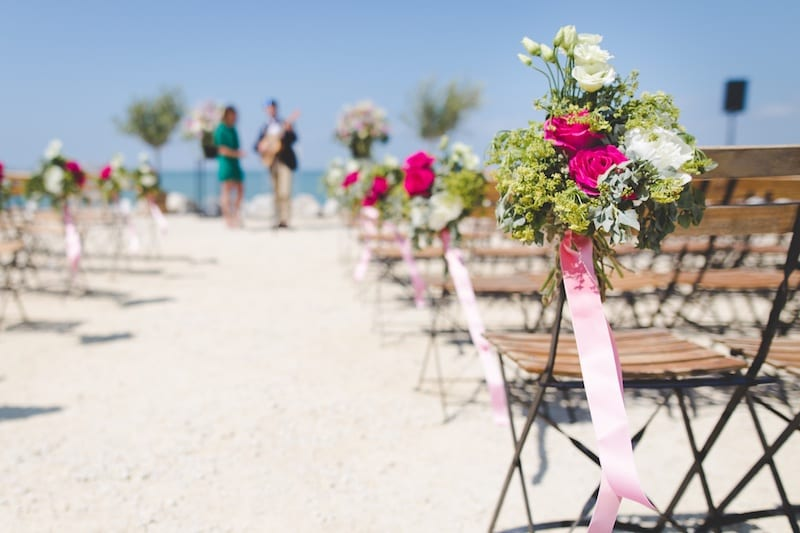 romantic secluded wedding on the beach