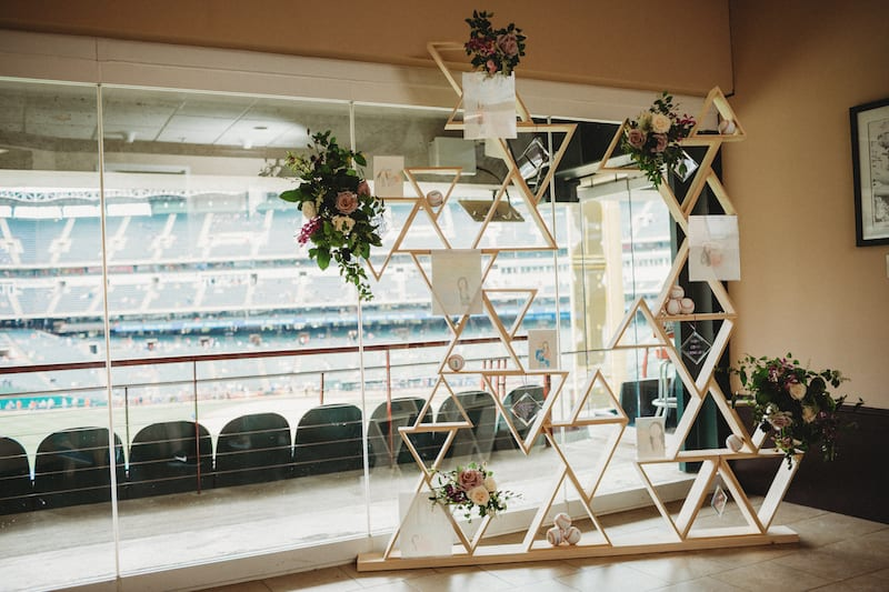 personalized decorations in baseball suite at proposal