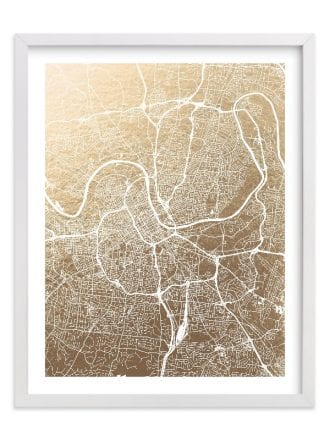 gold foil map of Nashville