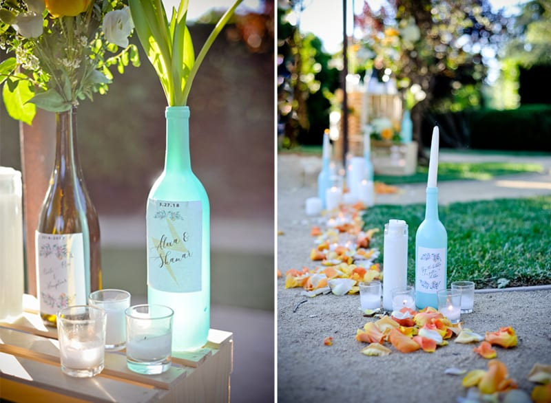 turquoise wine bottles with custom labels