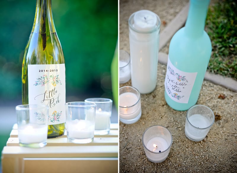 teal wine bottles with fairy lights