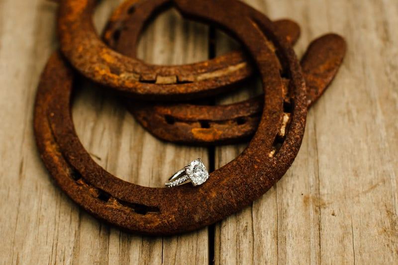 engagement ring displayed on horse shoe