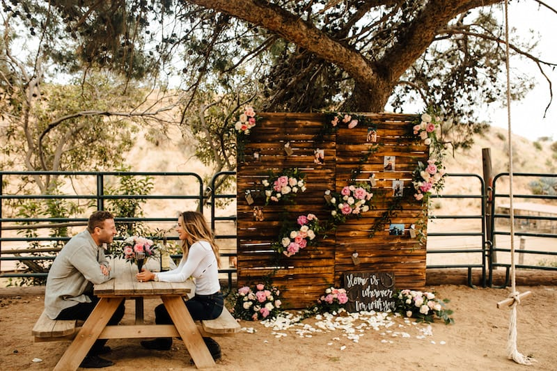 palette wall backdrop for marriage proposal