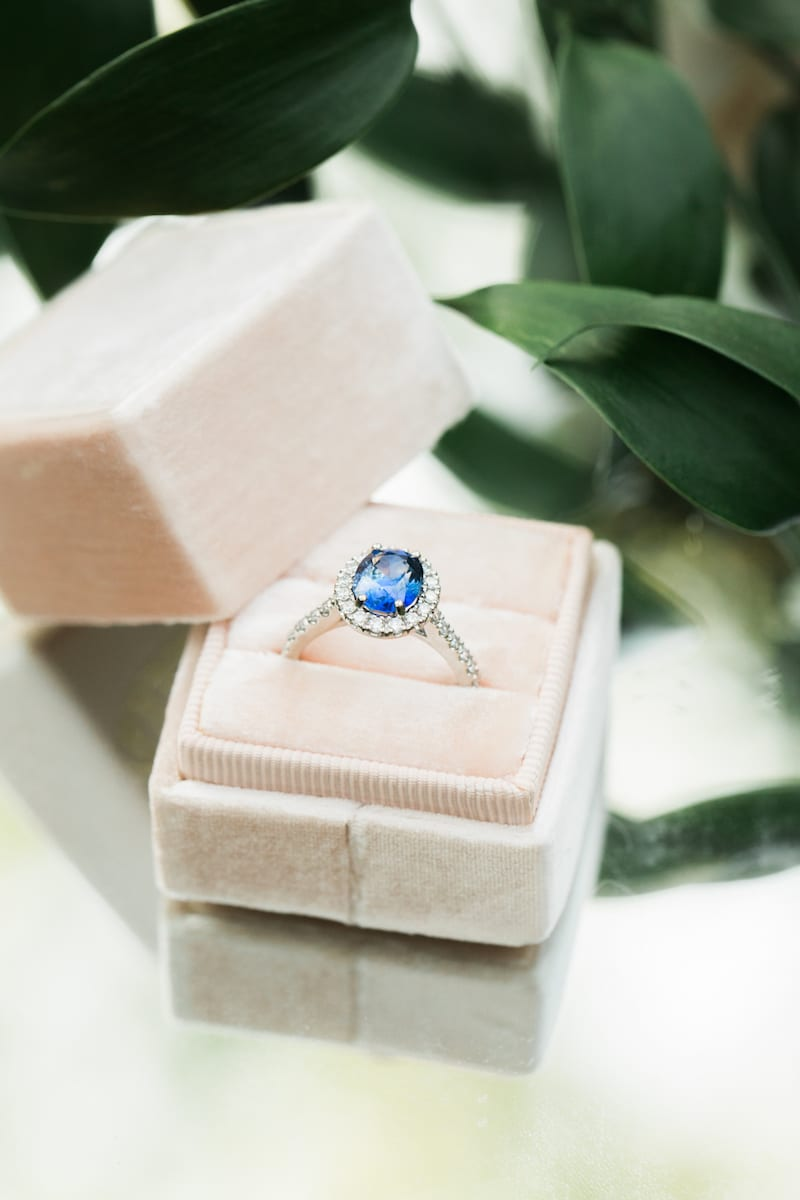 engagement ring with color