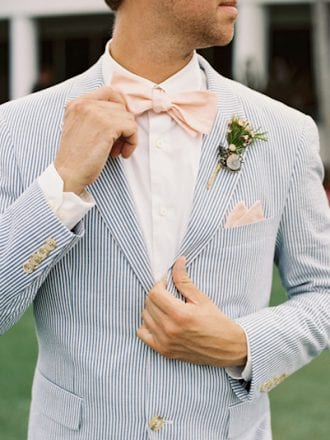 suit for man in blue and white stripes