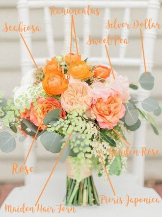 orange and peach bouquet for proposal