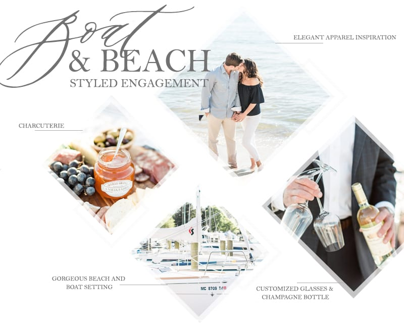 BOAT AND BEACH styled engagement shoot