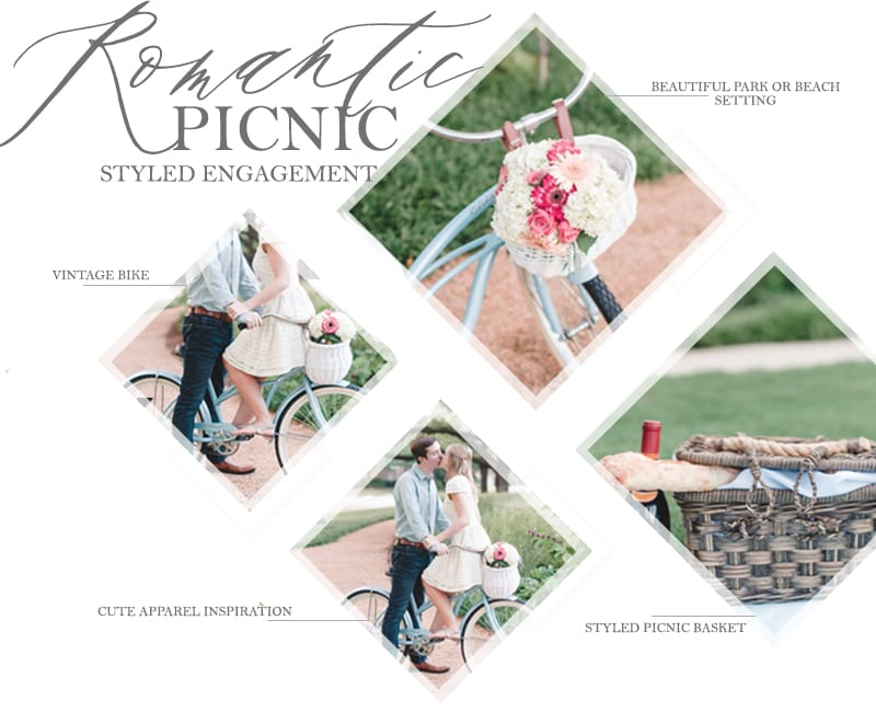 ROMANTIC PICNIC Engagement Photos styled shoot