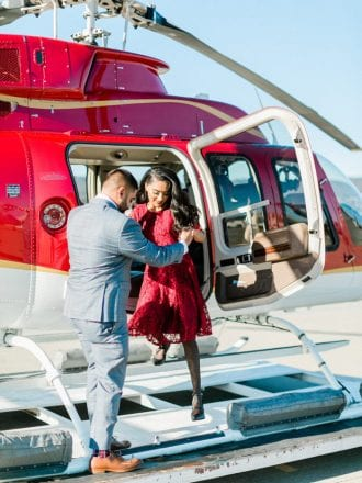 tons of flowers and helicopter proposal in san francisco