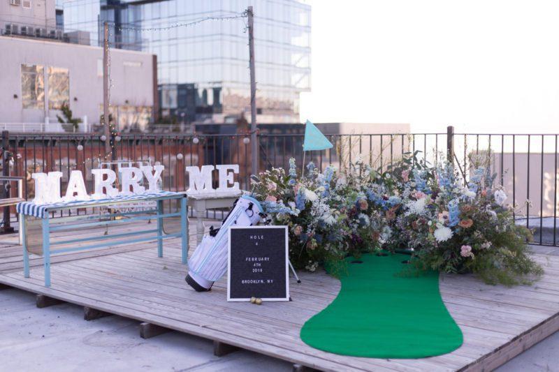 mini golf marriage proposal in brooklyn
