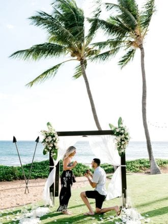 man proposing on private beach in hawaii