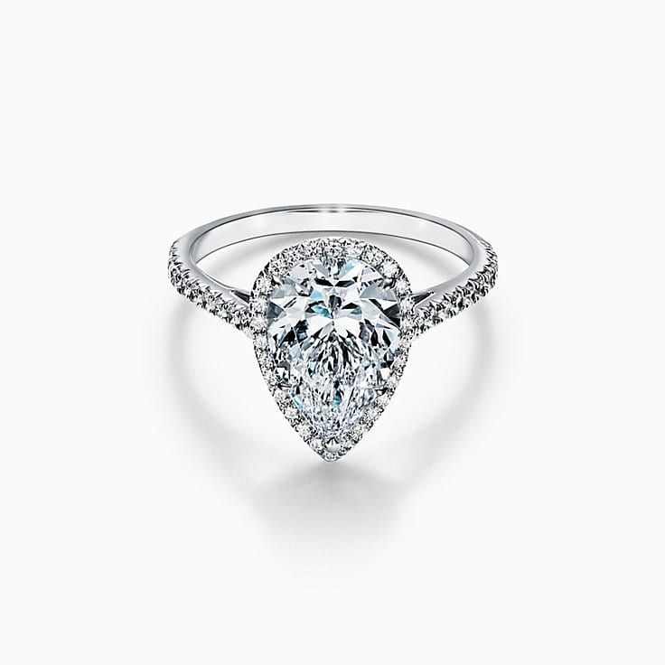 fa4e5ad593bda1 Tiffany Soleste® Pear-shaped Halo Engagement Ring with a Diamond Platinum  Band